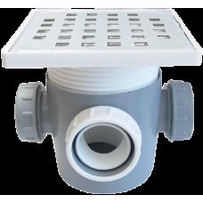 Sifon Pardoseala cu Inaltator Inox SP-H110-130-1 / De[mm]: 50+P; Di[mm]: 3x40+D